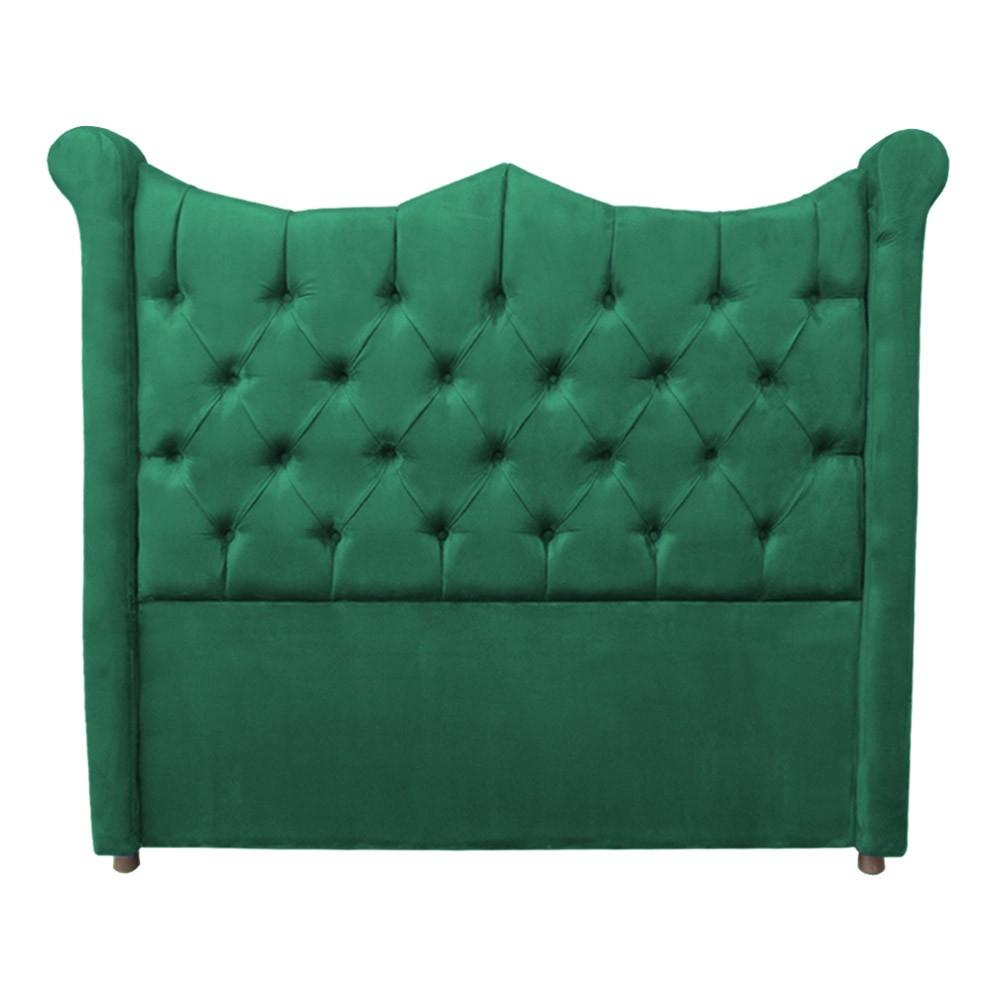 Cabeceira Cama Box Queen 1,60 m Morgana Estofada Suede Verde Bandeira