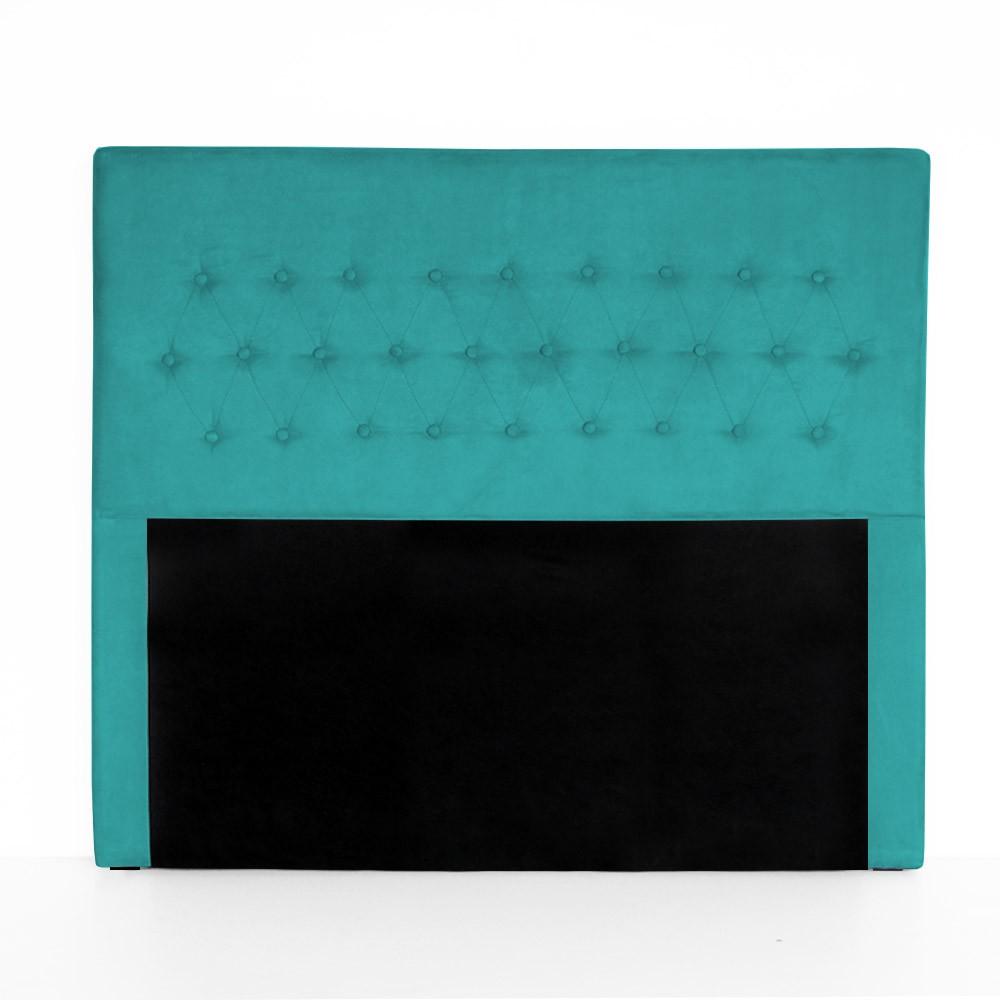 Cabeceira Egeo para Cama Box Casal 1,40 m Estofada Suede Azul Tiffany