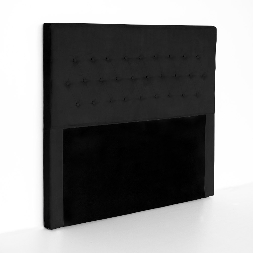 Cabeceira Egeo para Cama Box Casal 1,40 m Estofada Suede Preto