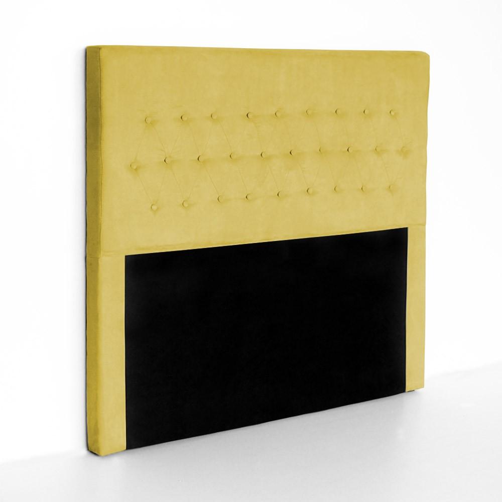 Cabeceira Egeo para Cama Box King 1,95 m Estofada Suede Amarelo