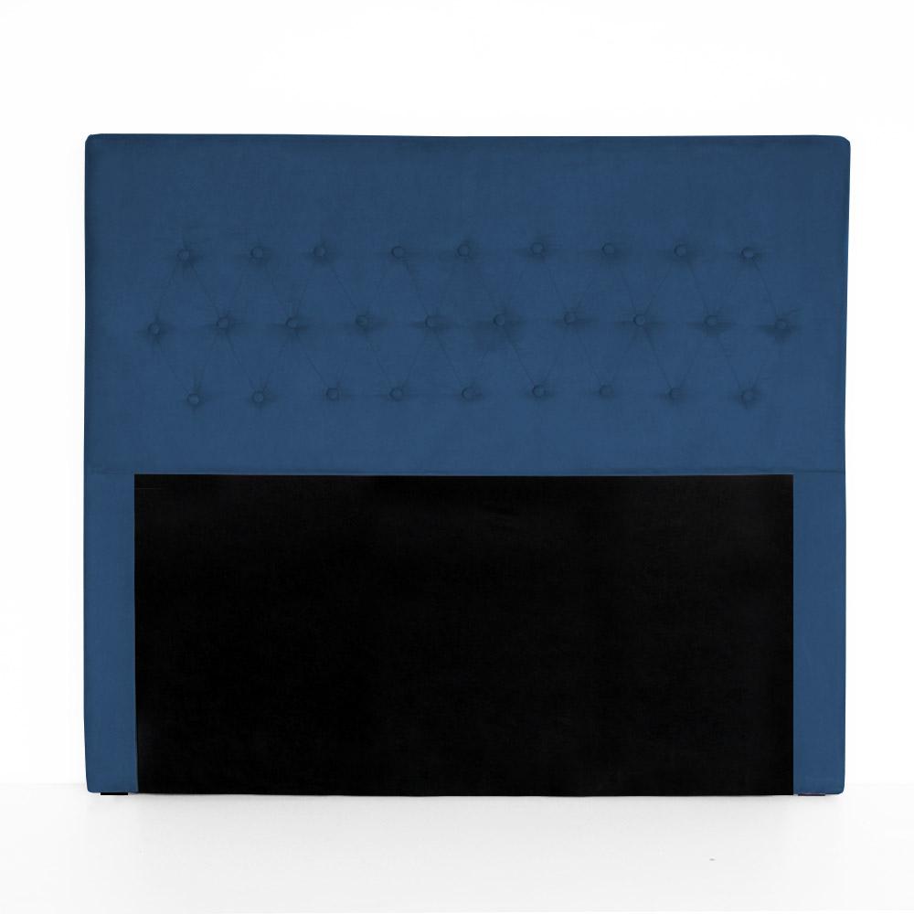 Cabeceira Egeo para Cama Box King 1,95 m Estofada Suede Azul Marinho