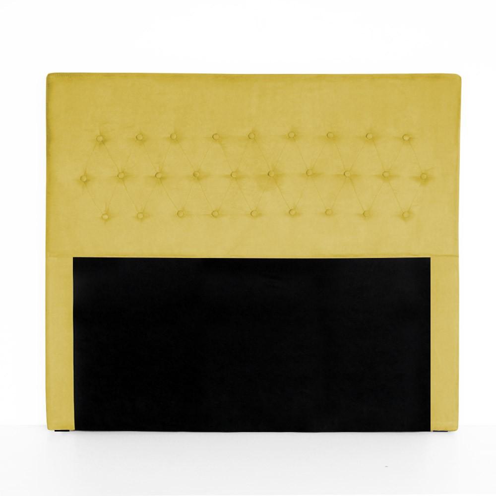 Cabeceira Egeo para Cama Box Queen 1,60 m Estofada Suede Amarelo