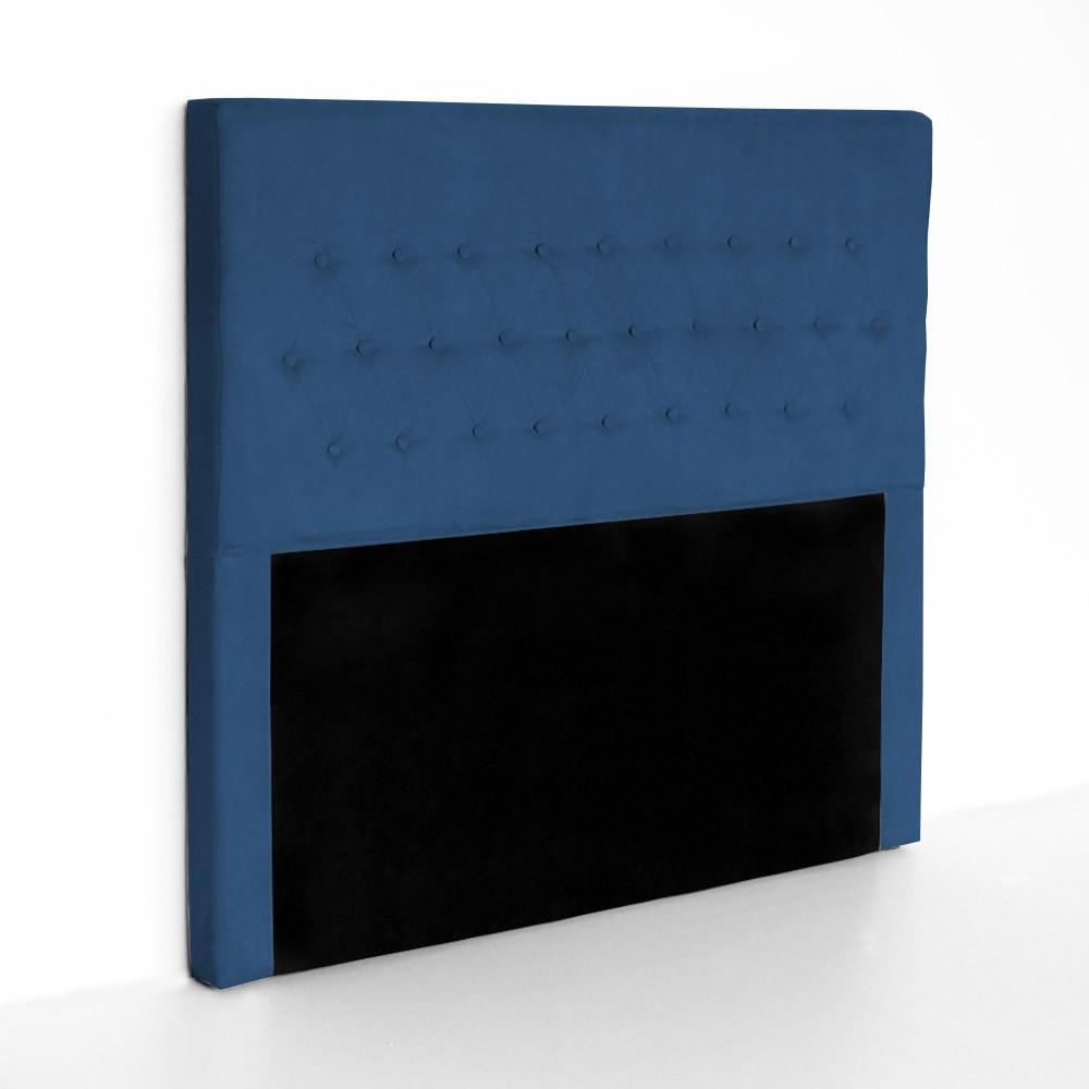Cabeceira Egeo para Cama Box Queen 1,60 m Estofada Suede Azul Marinho
