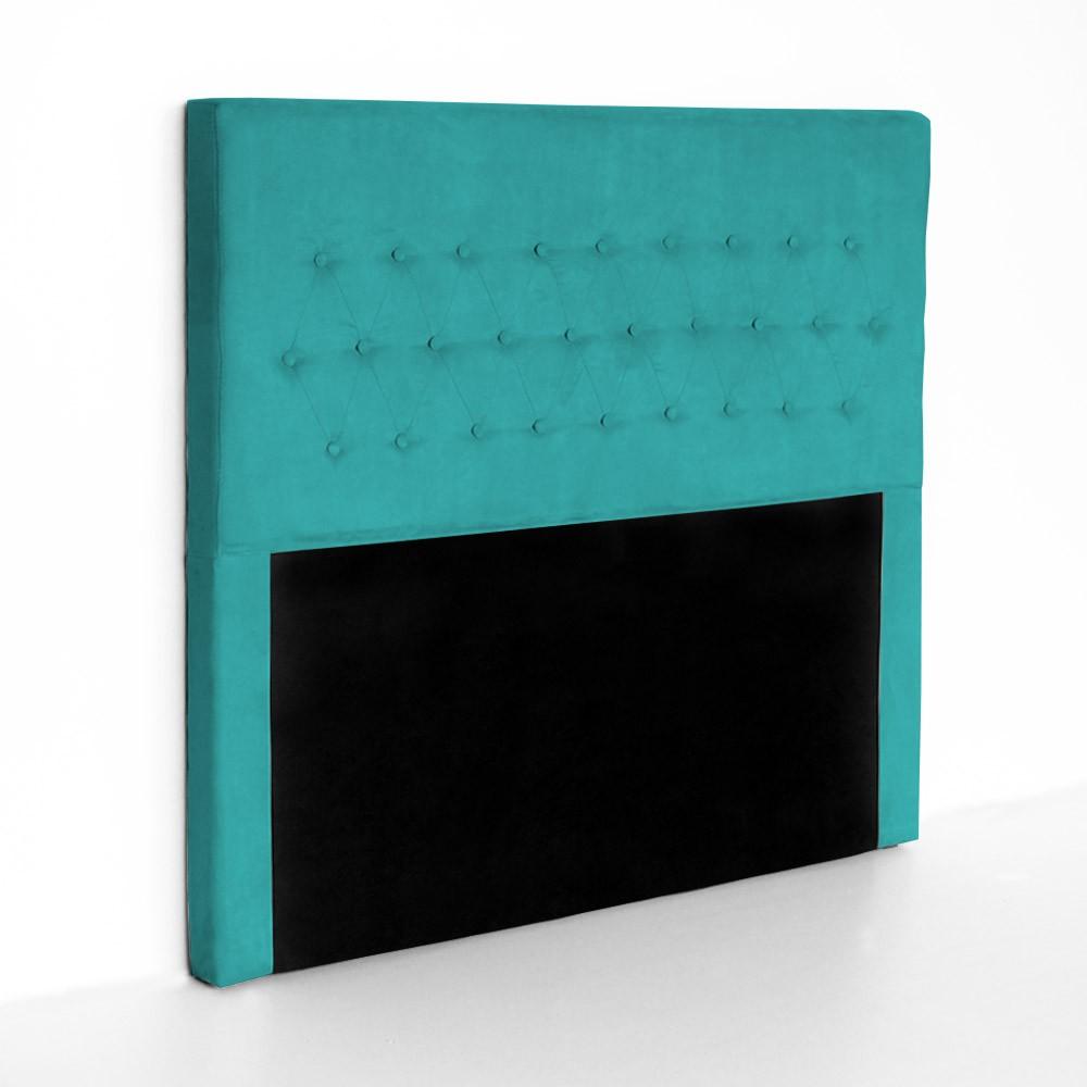 Cabeceira Egeo para Cama Box Queen 1,60 m Estofada Suede Azul Tiffany