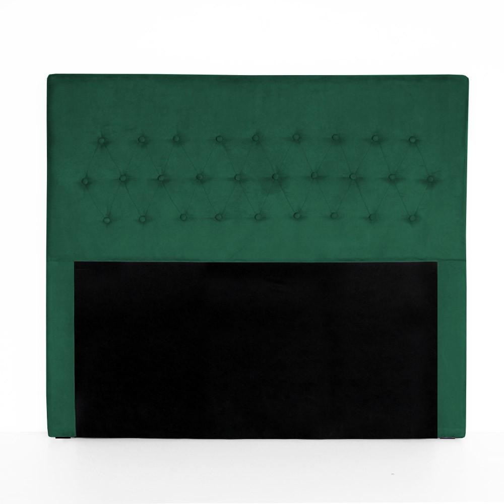 Cabeceira Egeo para Cama Box Queen 1,60 m Estofada Suede Verde Bandeira