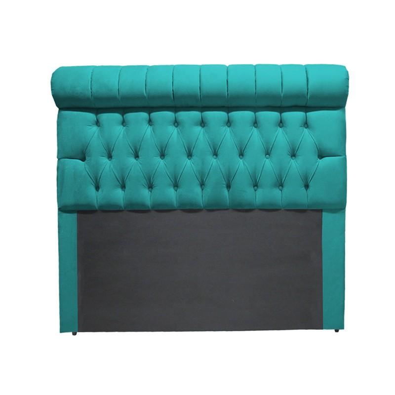 Cabeceira Glamour para Cama Box Casal 1,40 m Estofada Suede Azul Tiffany