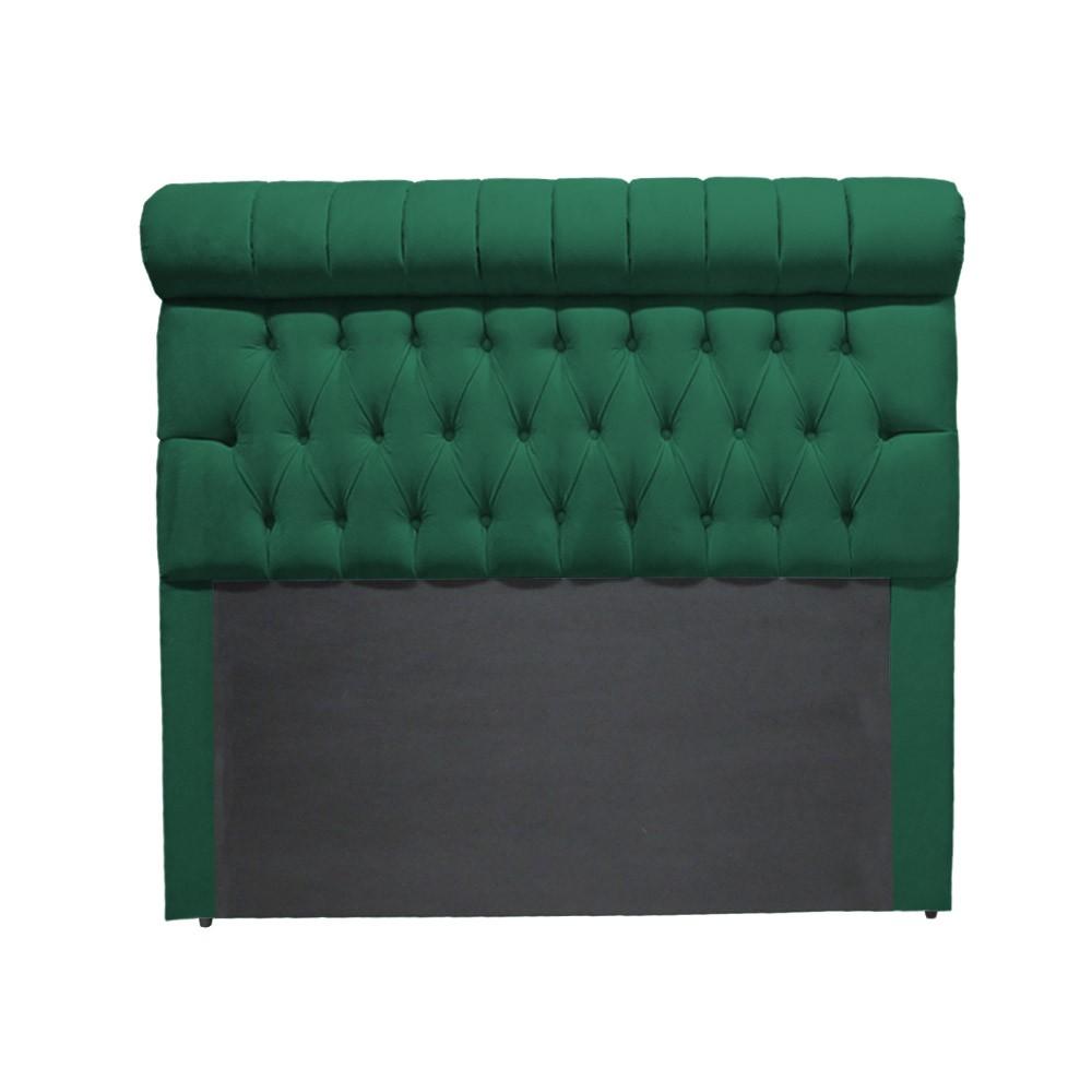 Cabeceira Glamour para Cama Box Casal 1,40 m Estofada Suede Verde Bandeira