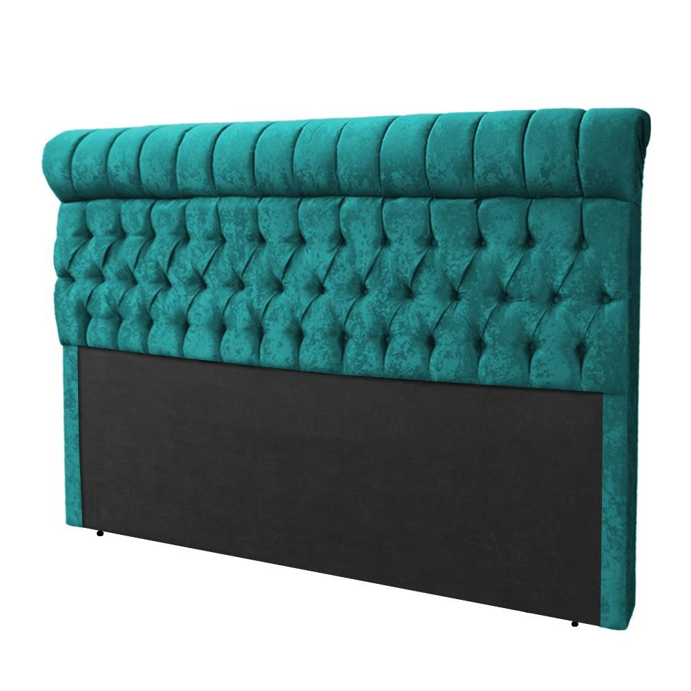 Cabeceira Glamour para Cama Box King 1,95 m Estofada Suede Azul Tiffany