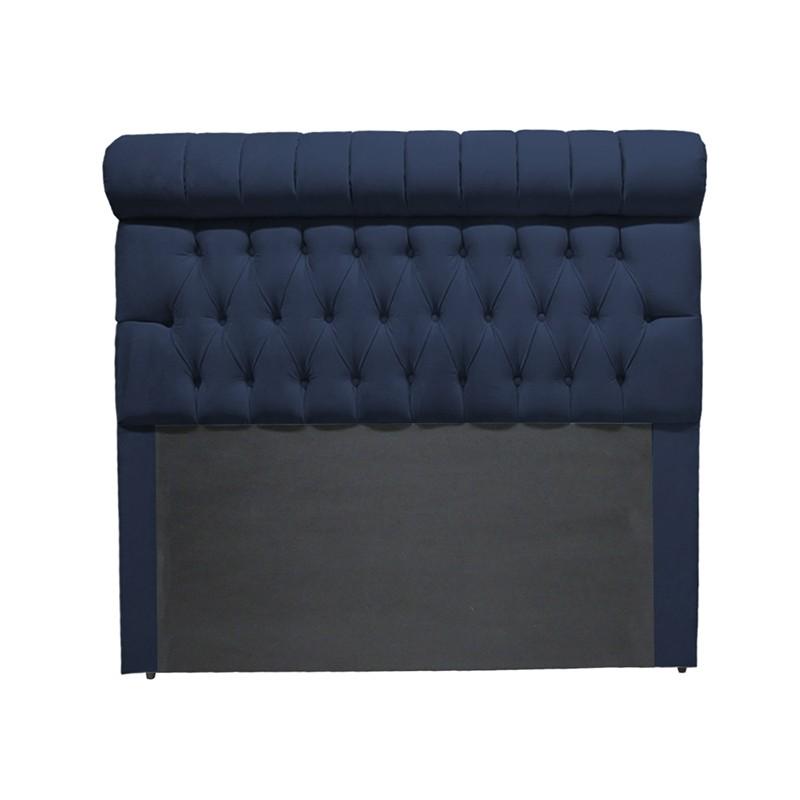 Cabeceira Glamour para Cama Box Queen 1,60 m Estofada Suede Azul Marinho
