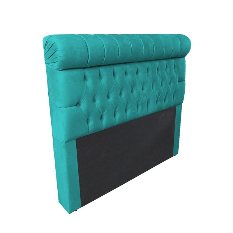Cabeceira Glamour para Cama Box Queen 1,60 m Estofada Suede Azul Tiffany