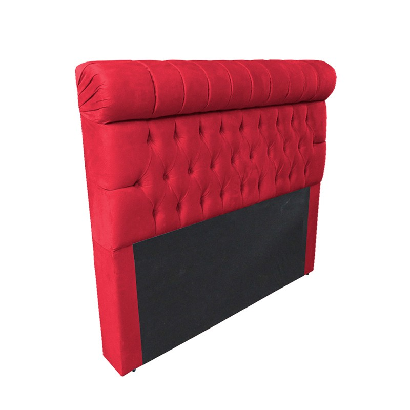 Cabeceira Glamour para Cama Box Queen 1,60 m Estofada Suede Vermelho