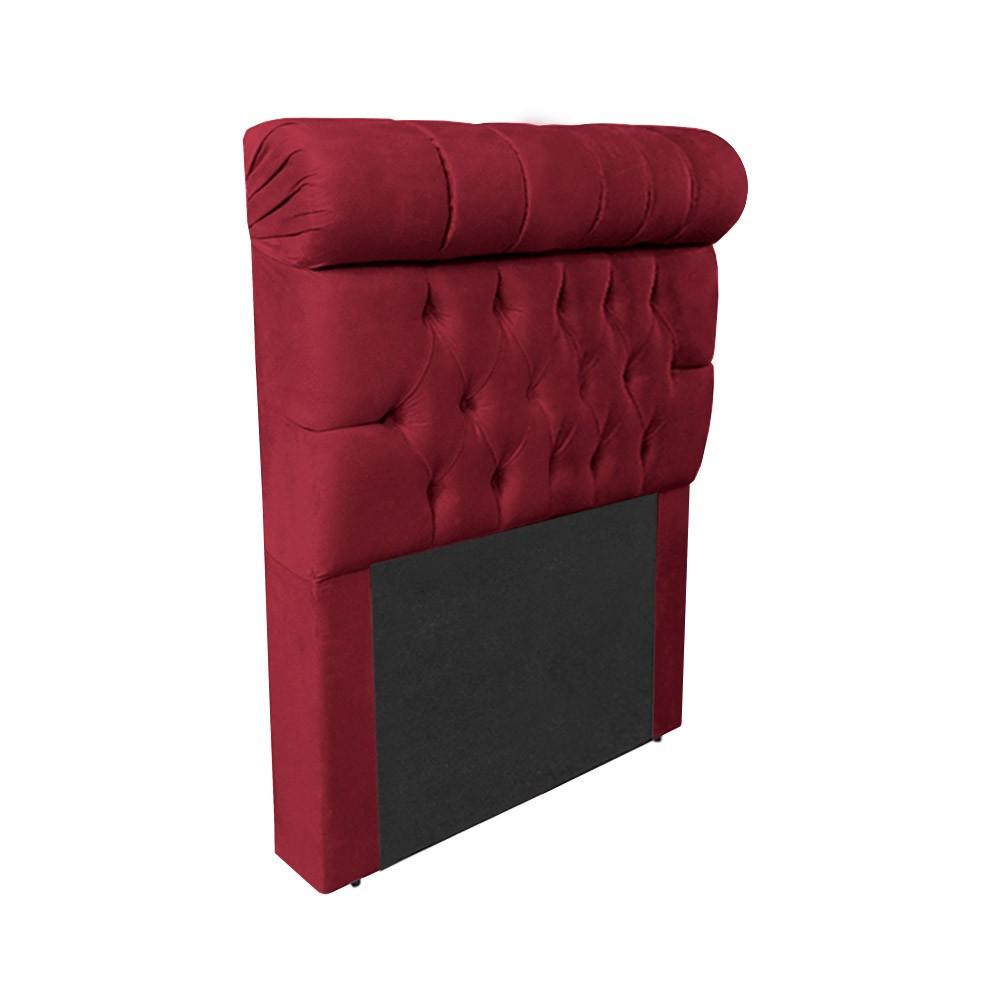 Cabeceira Glamour para Cama Box Solteiro 0,90 cm Estofada Suede Bordô