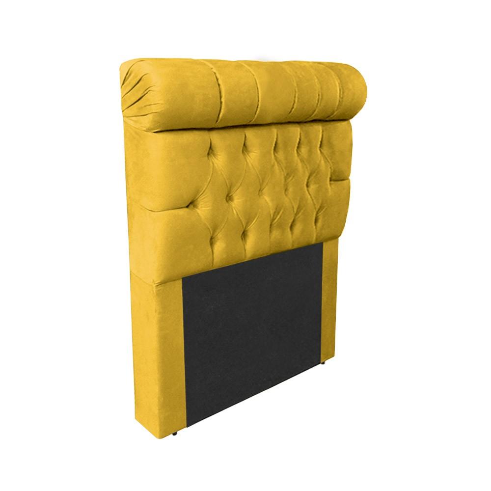 Cabeceira Glamour para Cama Box Solteiro 1,00 m Estofada Suede Amarelo