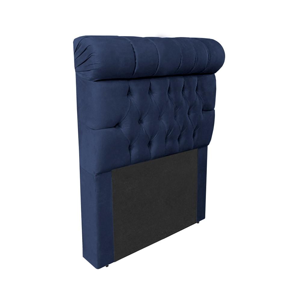 Cabeceira Glamour para Cama Box Solteiro 1,00 m Estofada Suede Azul Marinho