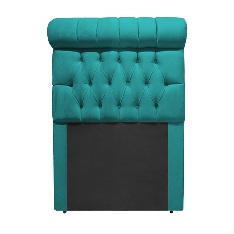 Cabeceira Glamour para Cama Box Solteiro 1,00 m Estofada Suede Azul Tiffany