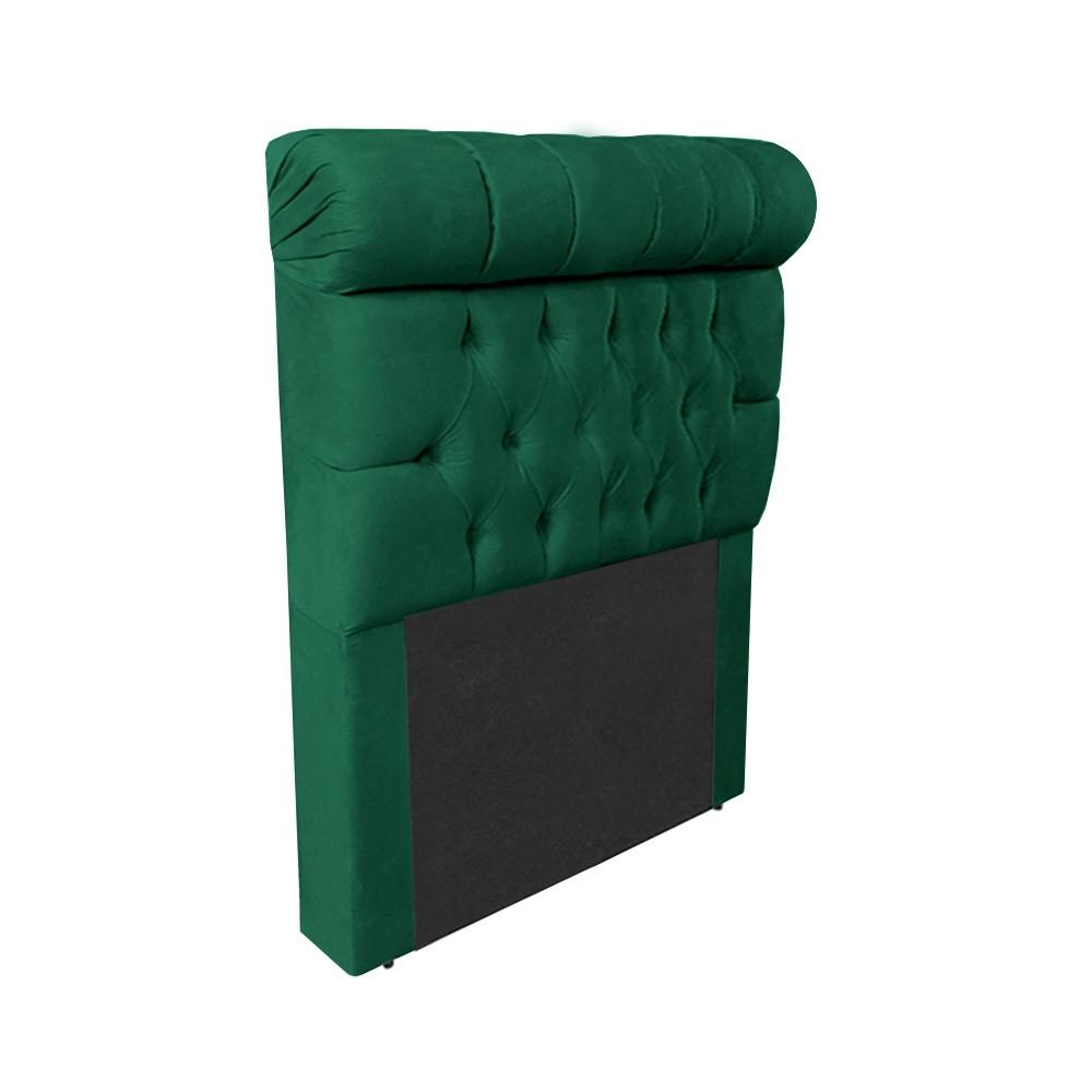 Cabeceira Glamour para Cama Box Solteiro 1,00 m Estofada Suede Verde Bandeira