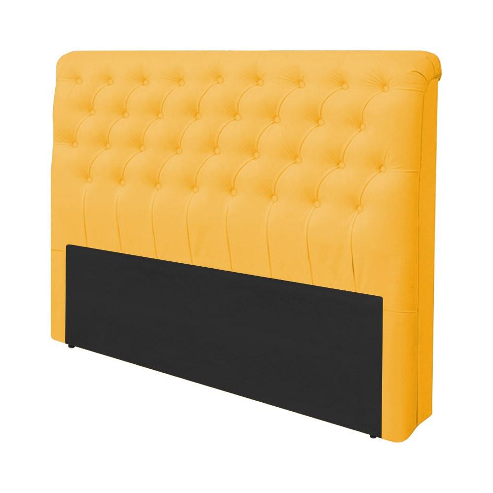 Cabeceira Lívia para Cama Box Casal 1,40 m Estofada Courino Amarelo