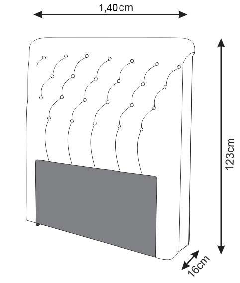 Cabeceira Lívia para Cama Box Casal 1,40 m Estofada Courino Branco