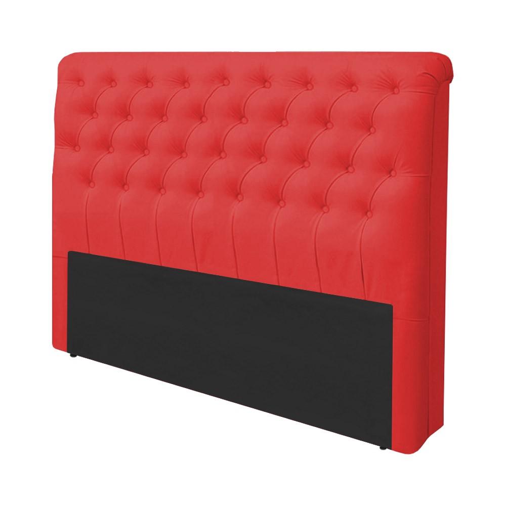 Cabeceira Lívia para Cama Box Casal 1,40 m Estofada Courino Vermelho