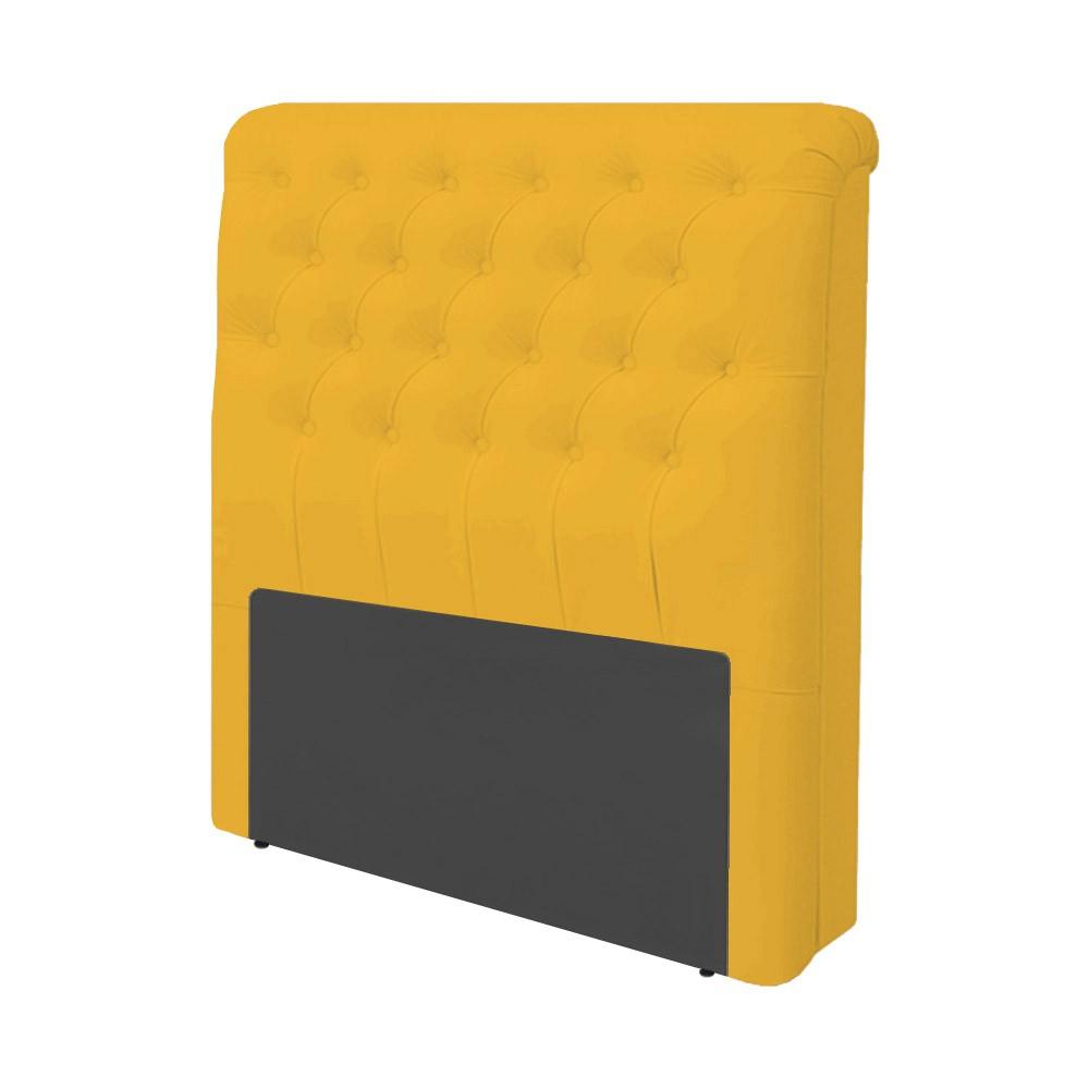 Cabeceira Lívia para Cama Box Solteiro 0,90 cm Estofada Courino Amarelo