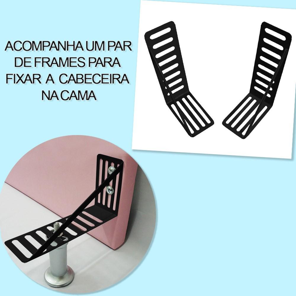 Cabeceira Lívia para Cama Box Solteiro 0,90 cm Estofada Courino Marrom