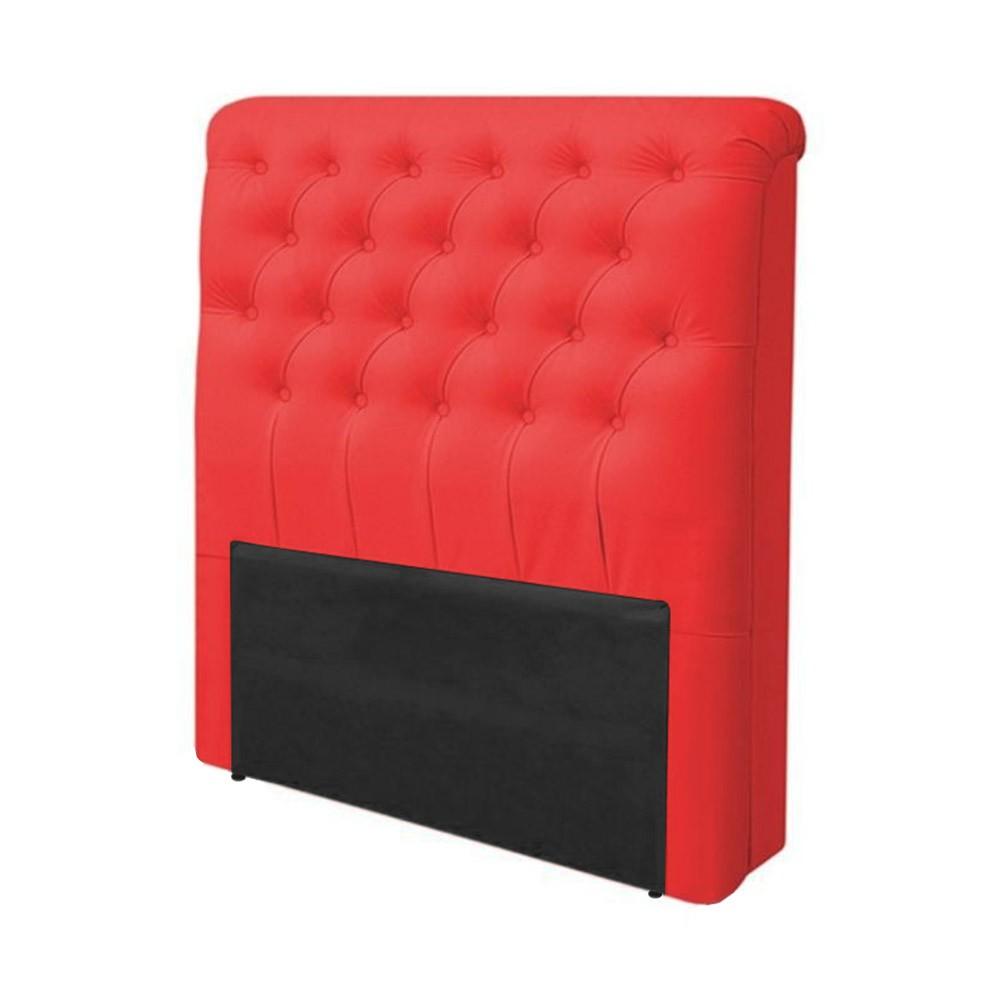 Cabeceira Lívia para Cama Box Solteiro 0,90 cm Estofada Courino Vermelho