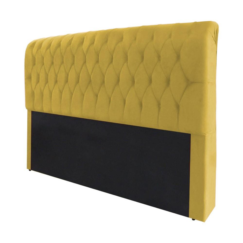 Cabeceira Marina para Cama Box King 1,95 m Estofada Suede Amarelo