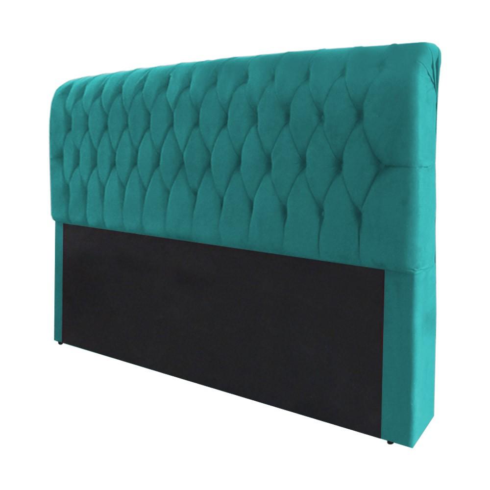 Cabeceira Marina para Cama Box King 1,95 m Estofada Suede Azul Tiffany