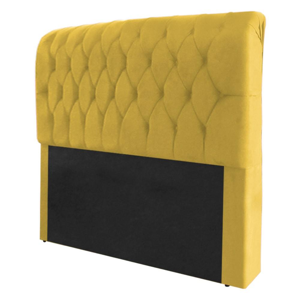 Cabeceira Marina para Cama Box Queen 1,60 m Estofada Suede Amarelo