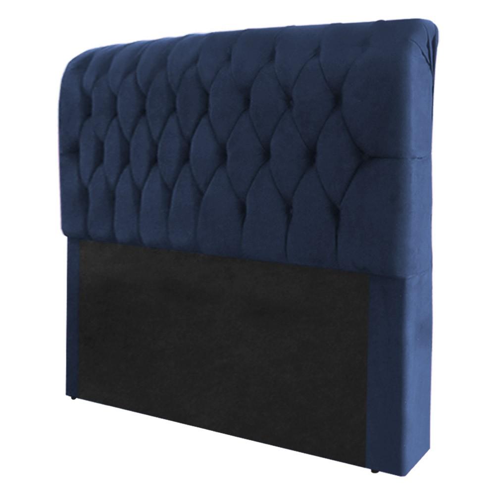 Cabeceira Marina para Cama Box Queen 1,60 m Estofada Suede Azul Marinho