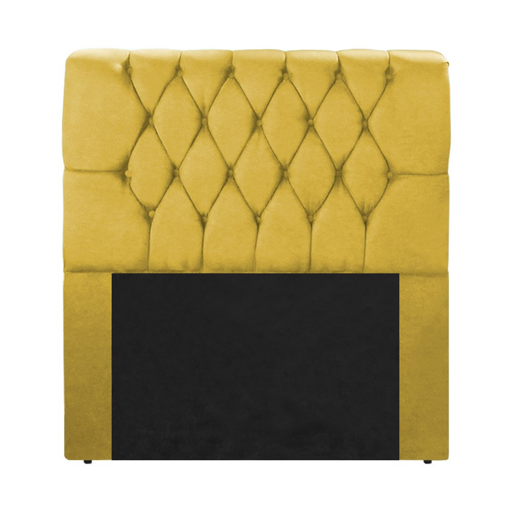Cabeceira Marina para Cama Box Solteiro 0,90 cm Estofada Suede Amarelo