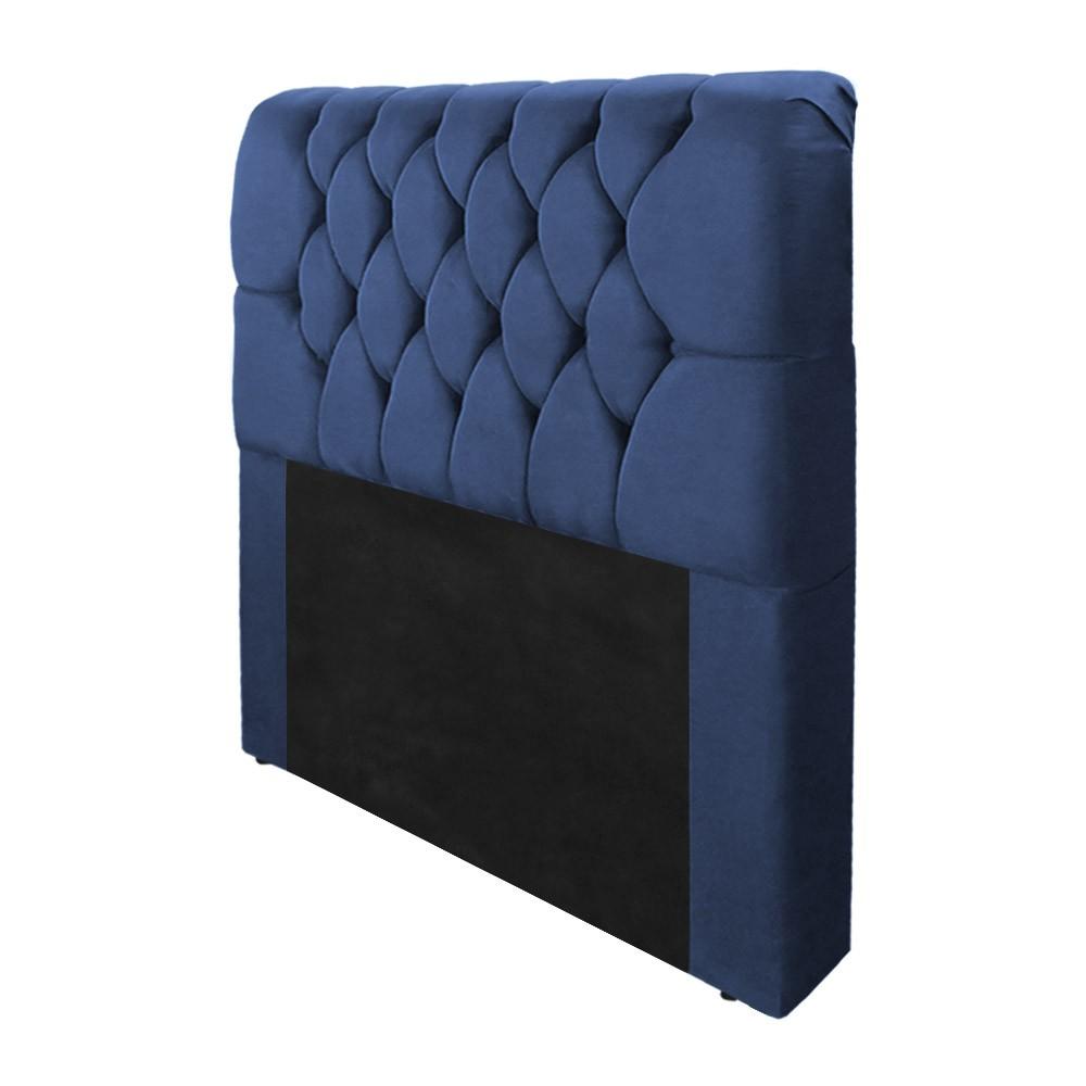 Cabeceira Marina para Cama Box Solteiro 0,90 cm Estofada Suede Azul Marinho