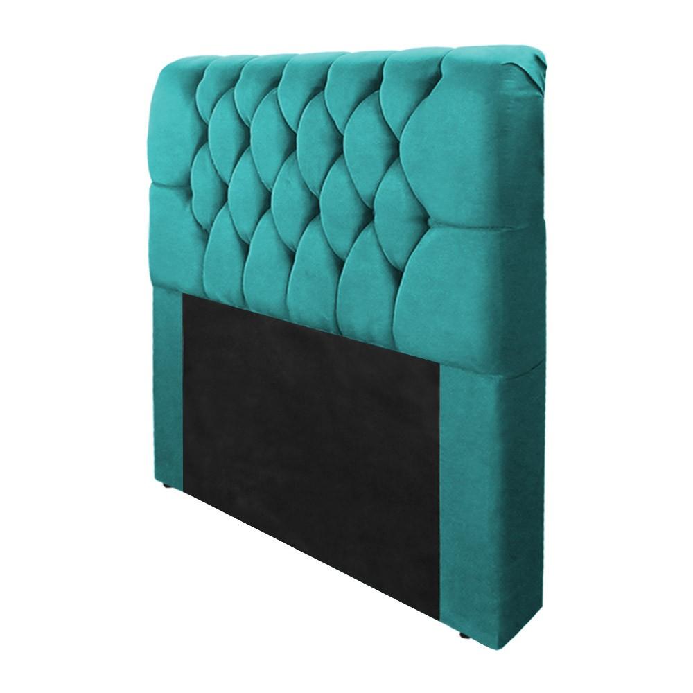 Cabeceira Marina para Cama Box Solteiro 0,90 cm Estofada Suede Azul Tiffany