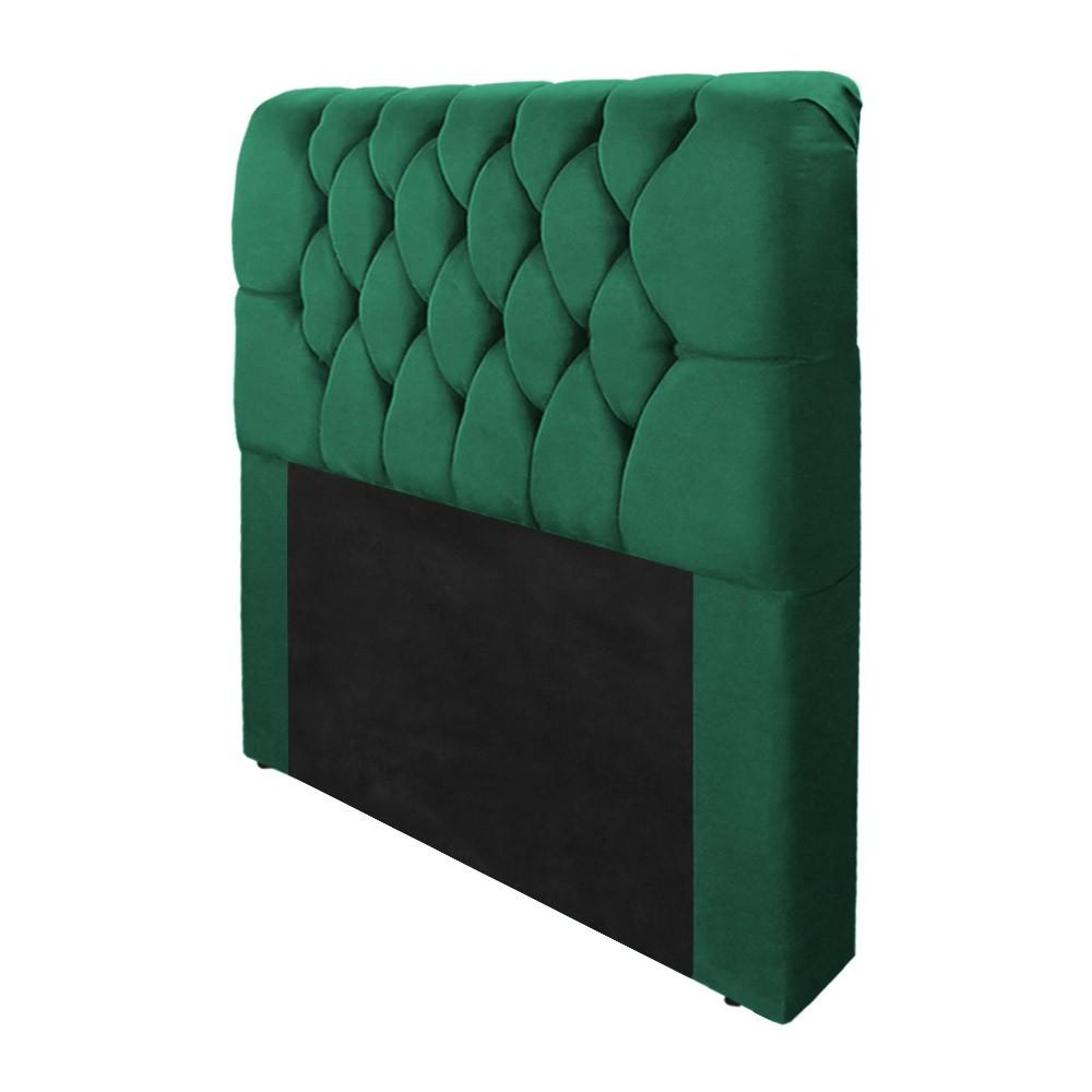Cabeceira Marina para Cama Box Solteiro 0,90 cm Estofada Suede Verde Bandeira