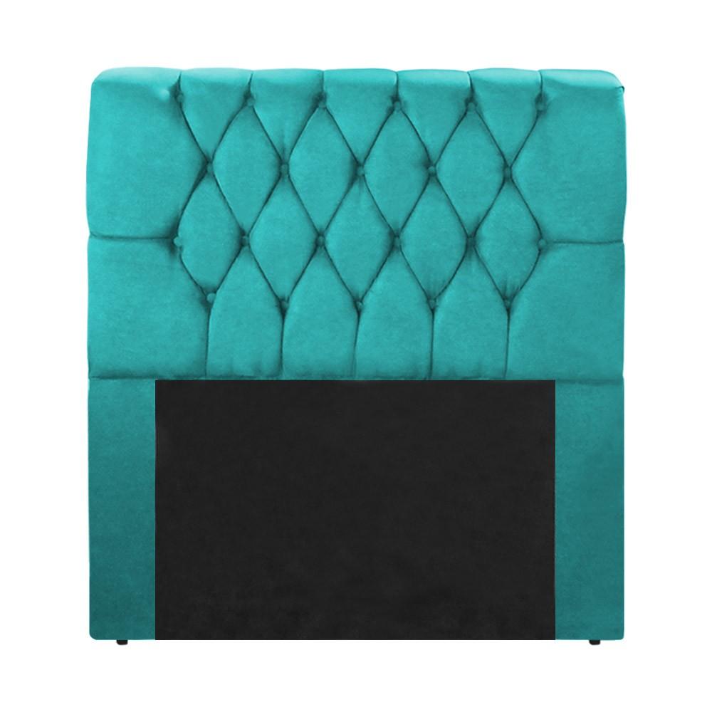 Cabeceira Marina para Cama Box Solteiro 1,00 m Estofada Suede Azul Tiffany