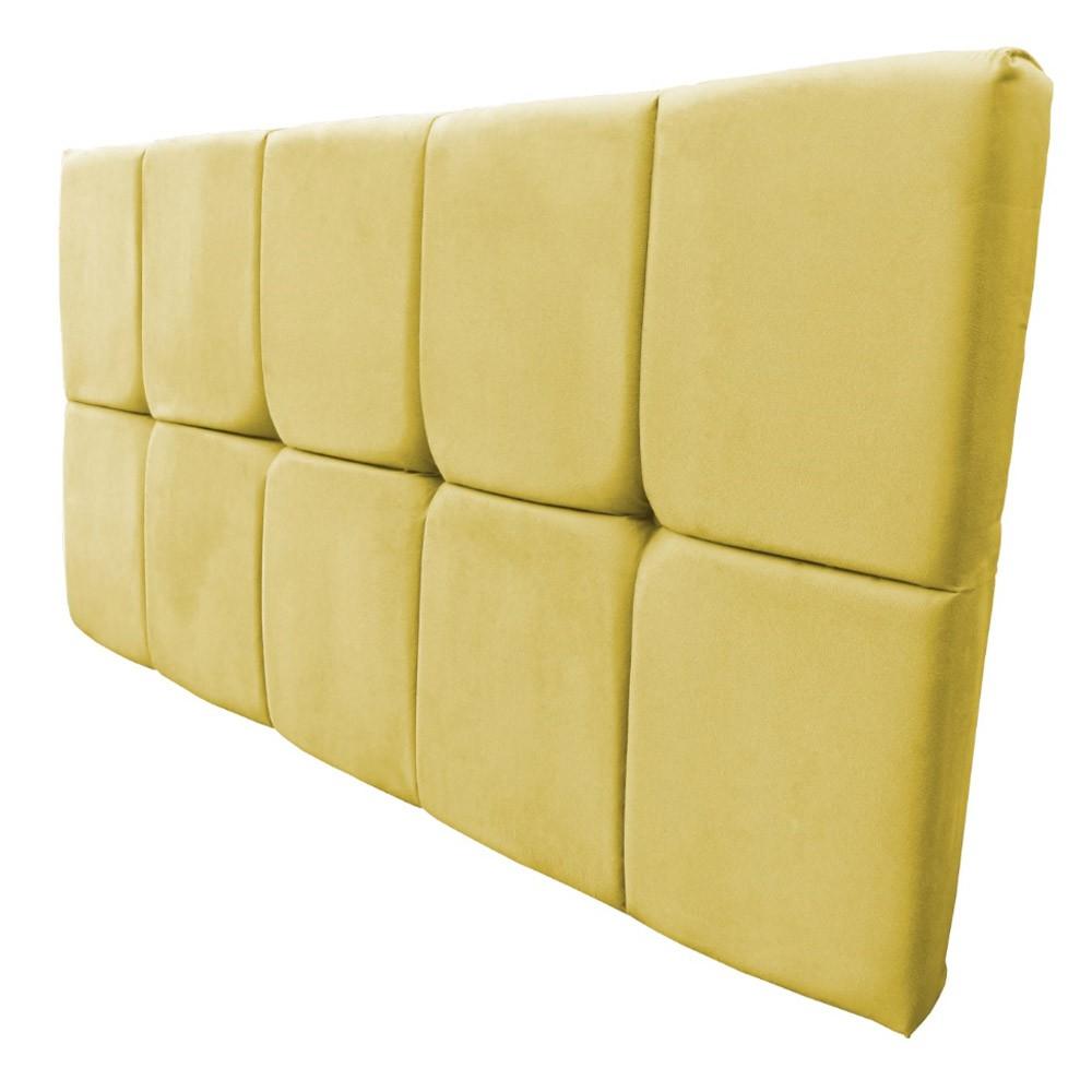 Cabeceira Painel Nina para Cama Box Casal 1,40 cm Estofada Suede Amarelo