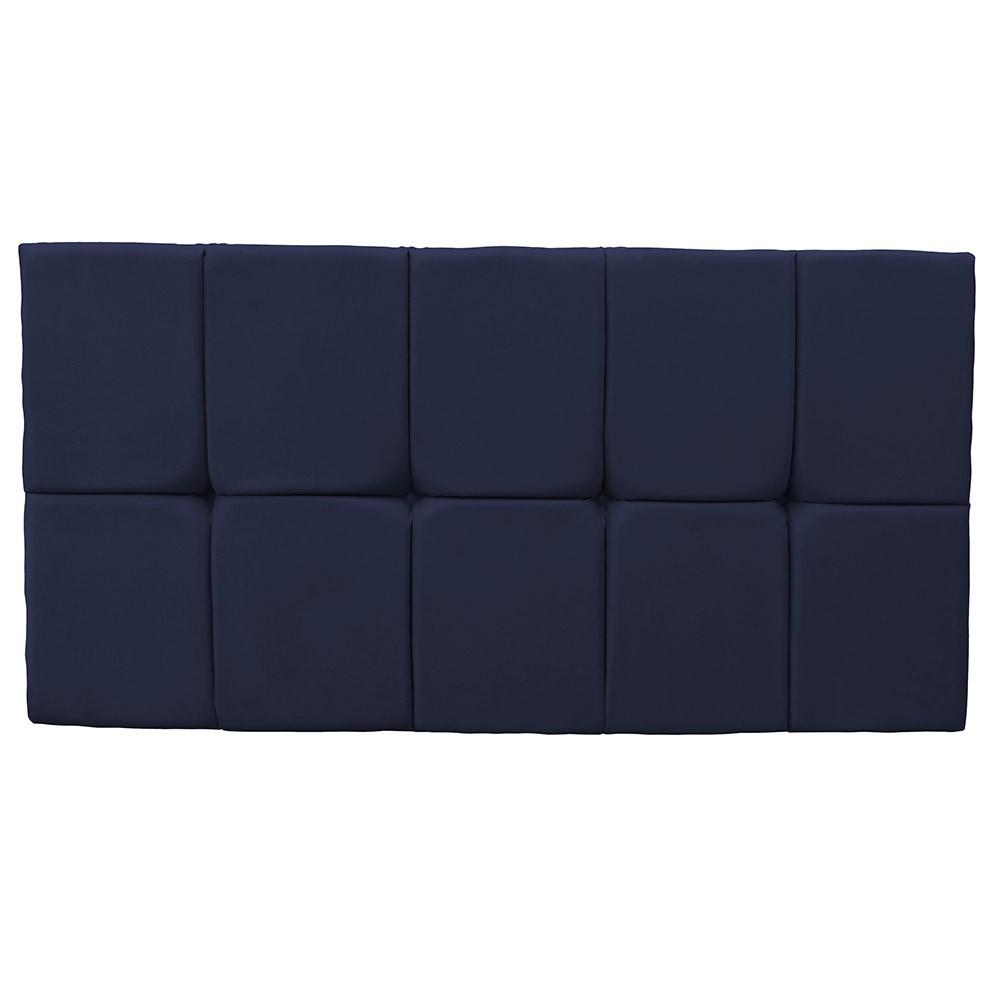 Cabeceira Painel Nina para Cama Box Casal 1,40 cm Estofada Suede Azul Marinho