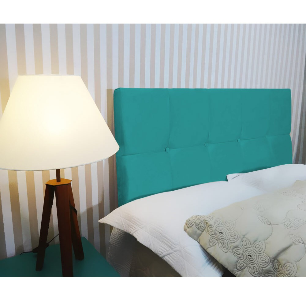 Cabeceira Painel Nina para Cama Box Casal 1,40 cm Estofada Suede Azul Tiffany
