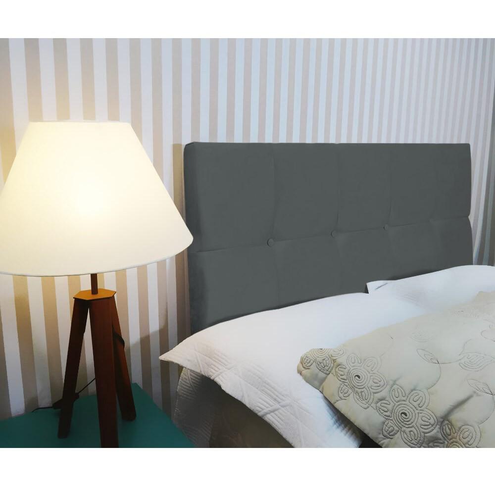 Cabeceira Painel Nina para Cama Box Casal 1,40 cm Estofada Suede Cinza Grafite