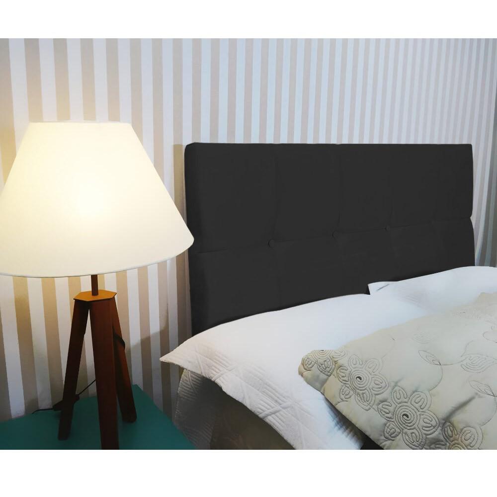 Cabeceira Painel Nina para Cama Box King 1,95 cm Estofada Suede Preto