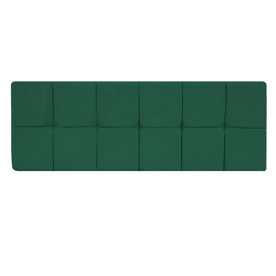 Cabeceira Painel Nina para Cama Box King 1,95 cm Estofada Suede Verde Bandeira