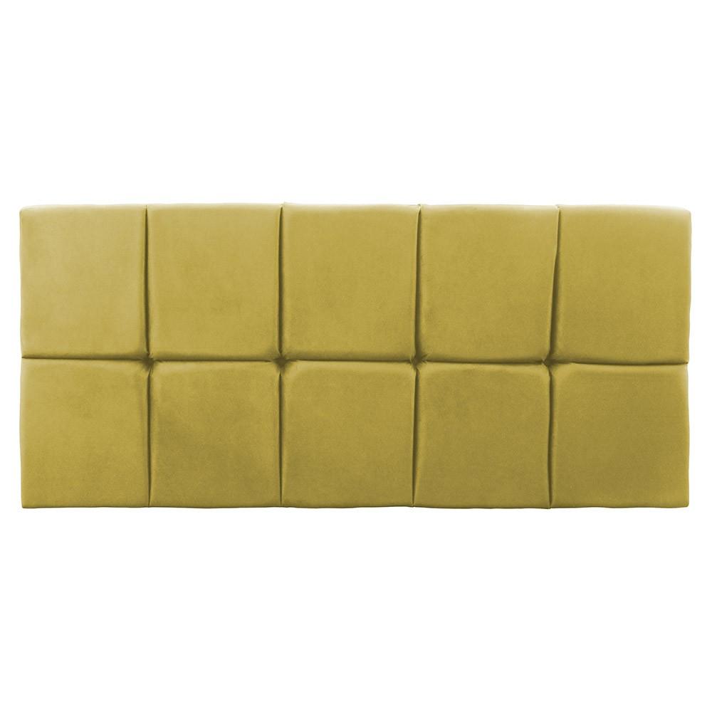 Cabeceira Painel Nina para Cama Box Queen 1,60 cm Estofada Suede Amarelo