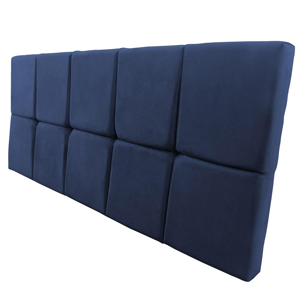 Cabeceira Painel Nina para Cama Box Queen 1,60 cm Estofada Suede Azul Marinho