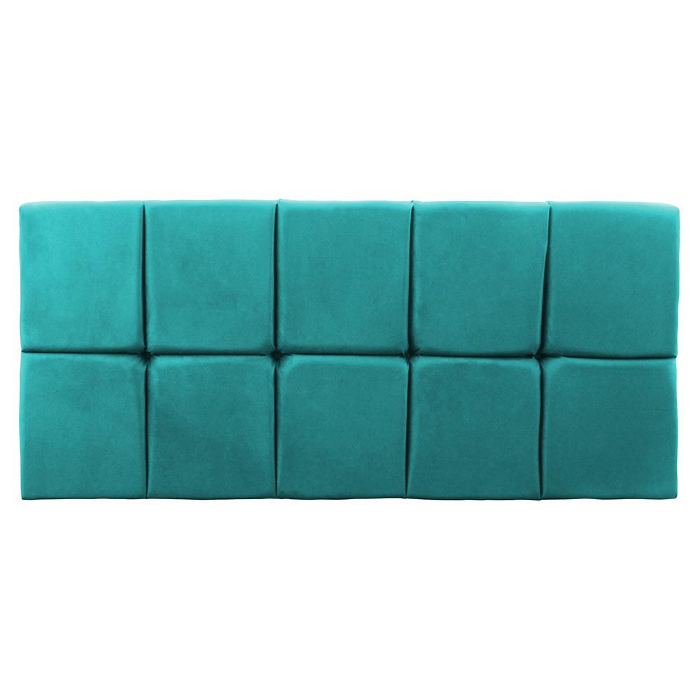 Cabeceira Painel Nina para Cama Box Queen 1,60 cm Estofada Suede Azul Tiffany
