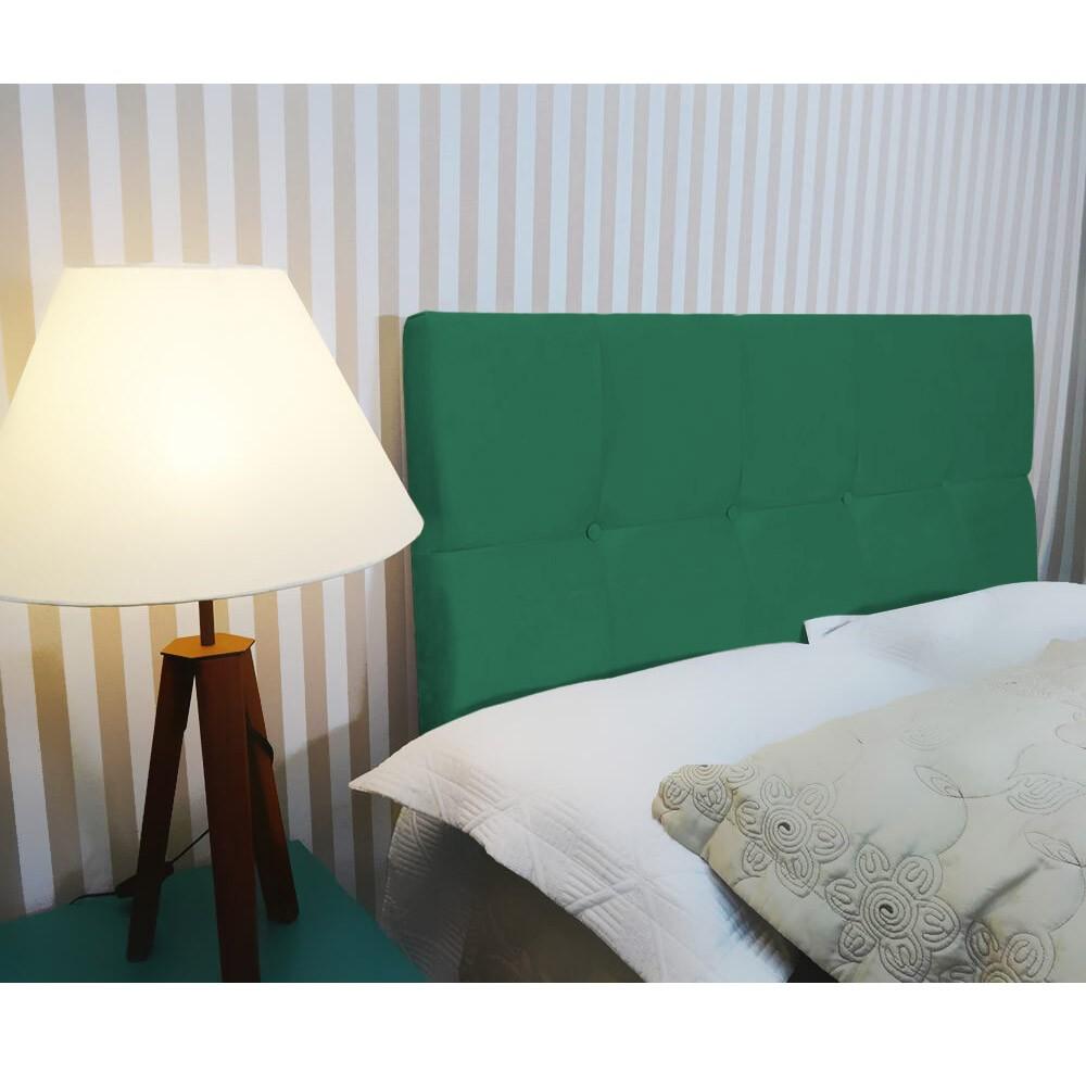 Cabeceira Painel Nina para Cama Box Queen 1,60 cm Estofada Suede Verde Bandeira