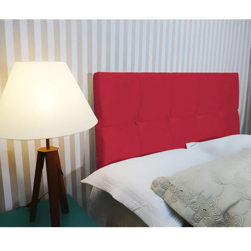 Cabeceira Painel Nina para Cama Box Queen 1,60 cm Estofada Suede Vermelho
