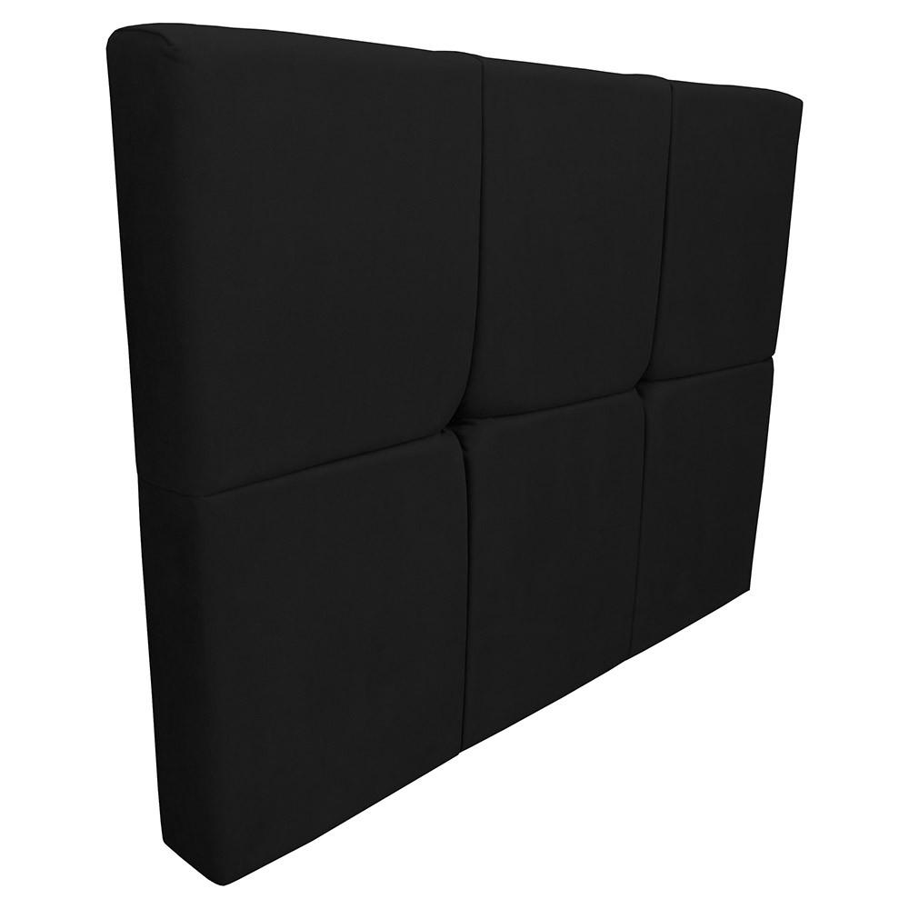Cabeceira Painel Nina para Cama Box Solteiro 0,90 cm Estofada Suede Preto