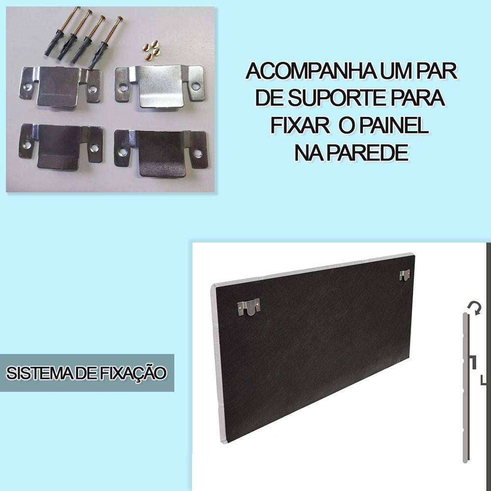 Cabeceira Painel Nina para Cama Box Solteiro 0,90 cm Estofada Suede Cinza Grafite