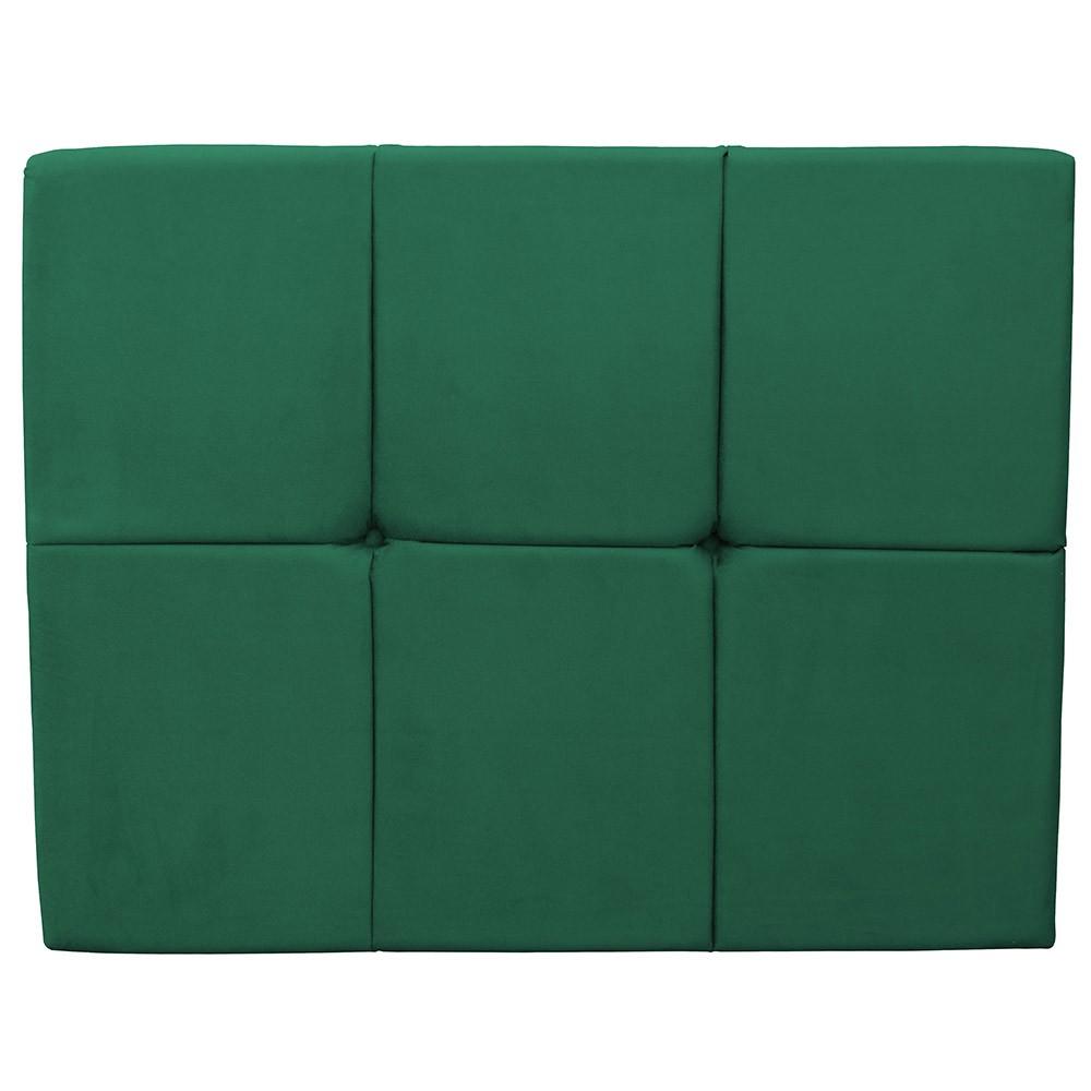 Cabeceira Painel Nina para Cama Box Solteiro 0,90 cm Estofada Suede Verde Bandeira