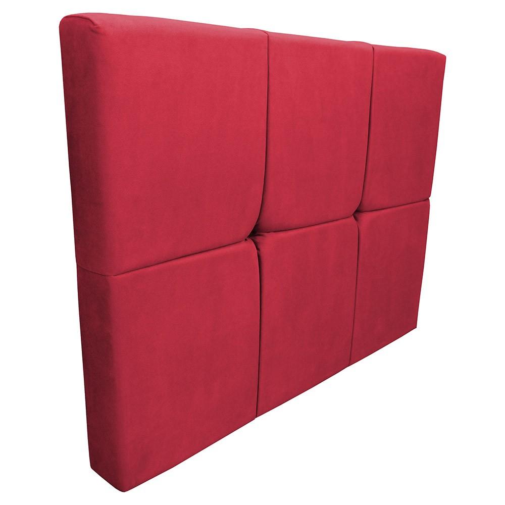 Cabeceira Painel Nina para Cama Box Solteiro 0,90 cm Estofada Suede Vermelho